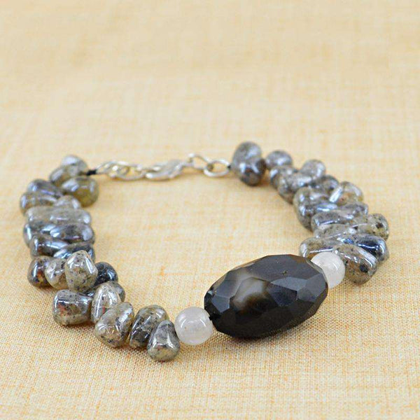 gemsmore:Coated Labradorite & Black Onyx Bracelet Natural Untreated Beads