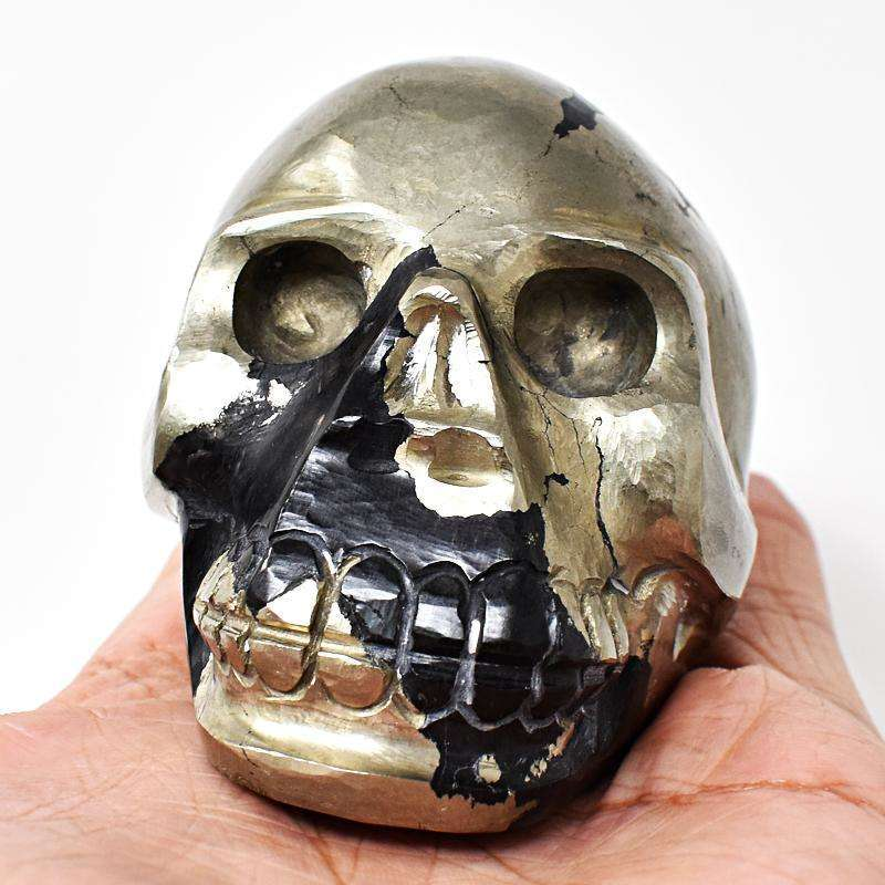 gemsmore:Craftsmen Hand Carved Golden Pyrite Gemstone Skull