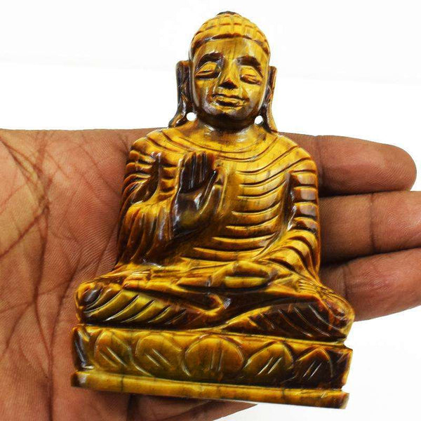 gemsmore:Designer Golden Tiger Eye Carved Lord Buddha Statue