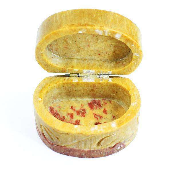 gemsmore:Designer Jasper Hand Carved Gemstone Jewellery Box