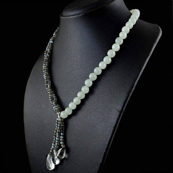 gemsmore:Designer Natural Blue Flash Labradorite & Green Aquamarine Necklace Untreated Round Beads