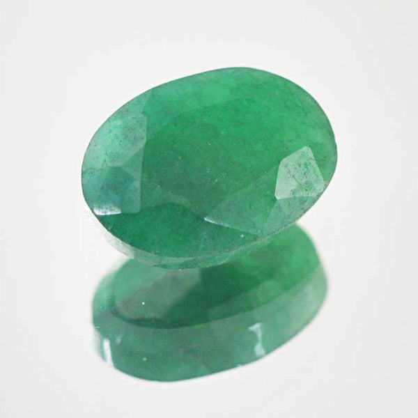 gemsmore:Earth Mind Green Emerald Gemstone - Faceted Oval Shape