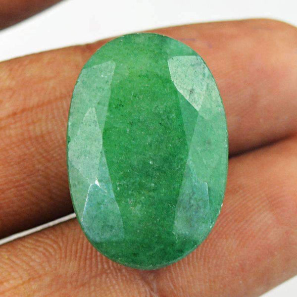 gemsmore:Earth Mined Green Emerald Gemstone - Oval Shape