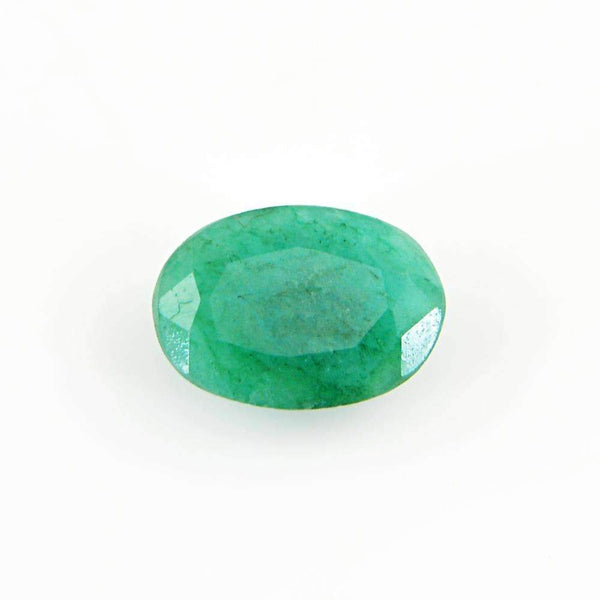 gemsmore:Earth Mined Green Emerald Gemstone Faceted Oval Shape