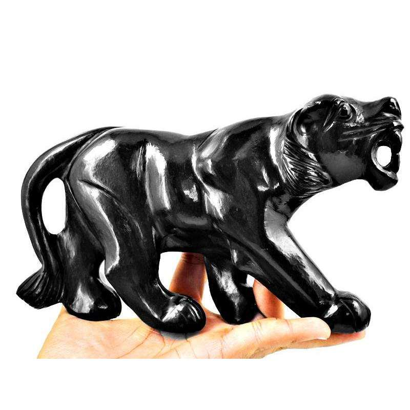 gemsmore:Exclsuive Black Spinel Hand Carved Roaring Black Panther