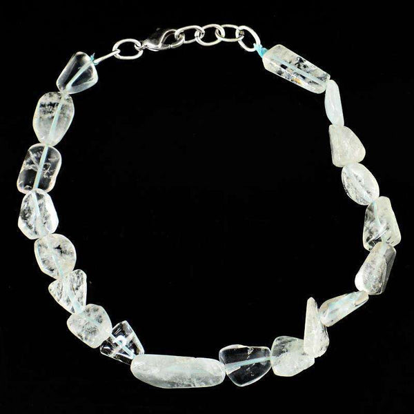 gemsmore:Exclusive Aquamarine Beads Bracelet Natural Untreated