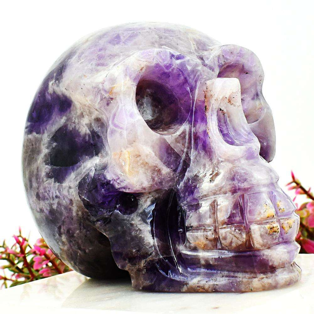 gemsmore:Exclusive Bi-Color Amethyst Hand Carved Human Skull