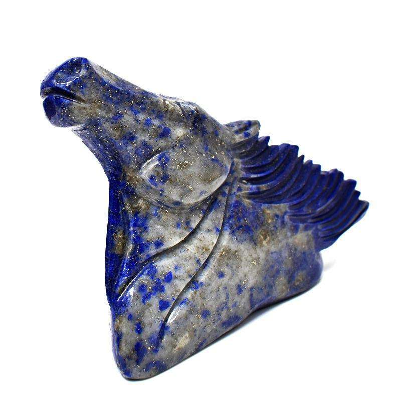 gemsmore:Exclusive Blue Lapis Lazuli Hand Carved Horse Head