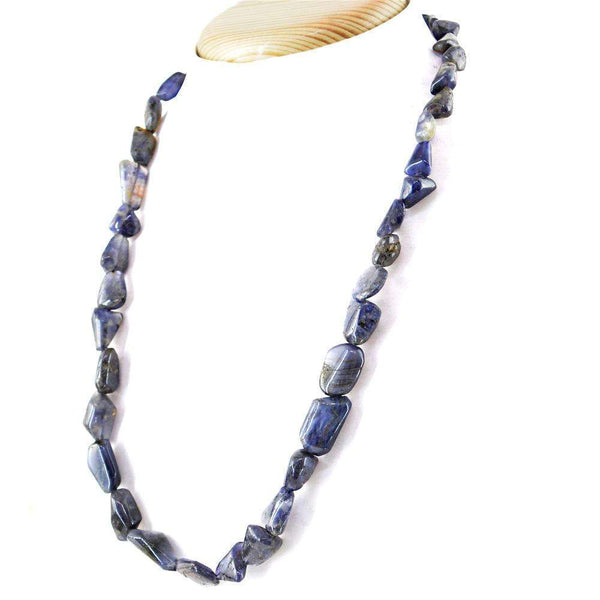 gemsmore:Exclusive Blue Tanzanite Beads Necklace Natural Single Strand Untreated Beads