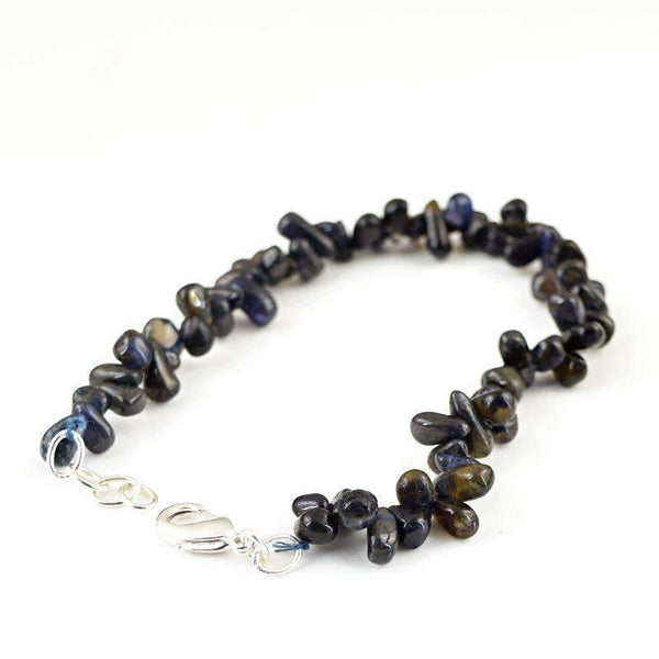 gemsmore:Exclusive Blue Tanzanite Bracelet Natural Tear Drop Beads