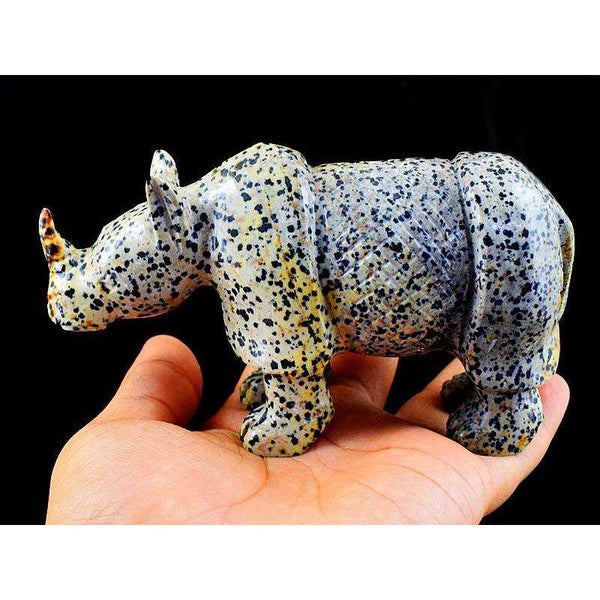 gemsmore:Exclusive Dalmation Jasper Hand Carved Rhino