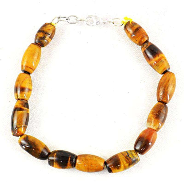 gemsmore:Exclusive Golden Tiger Eye Beads Bracelet Natural Untreated