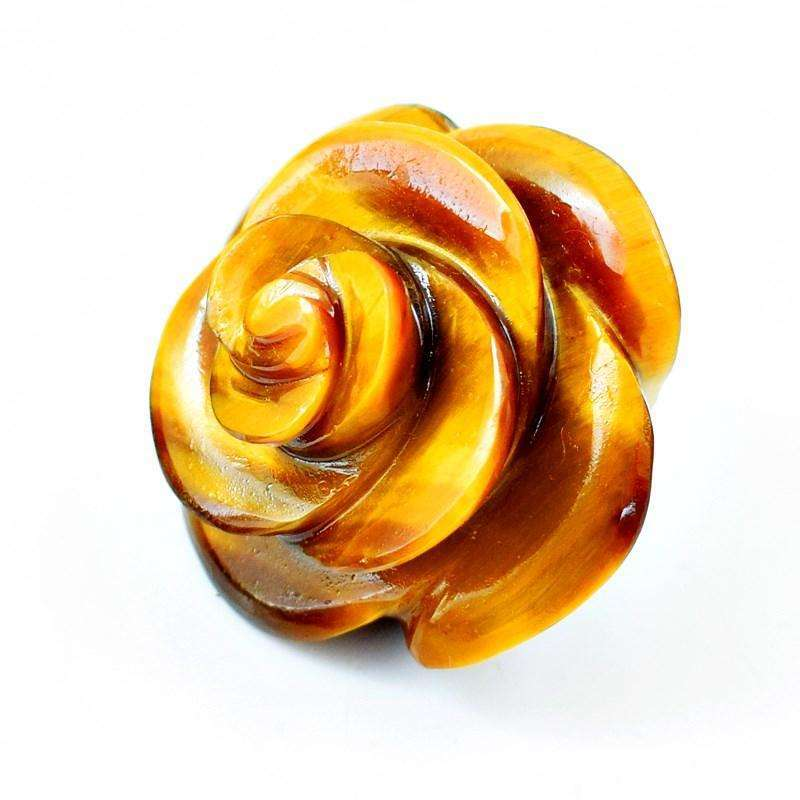 gemsmore:Exclusive Golden Tiger Eye Hand Carved Rose Gemstone