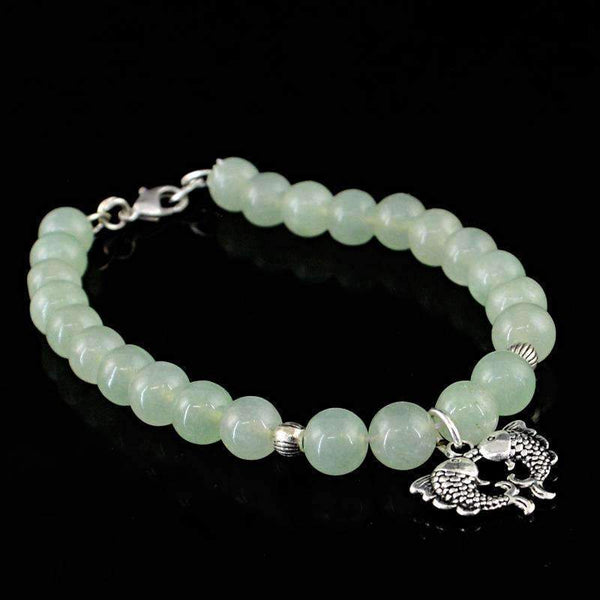 gemsmore:Exclusive Green Aquamarine Bracelet Natural Round Shape Beads