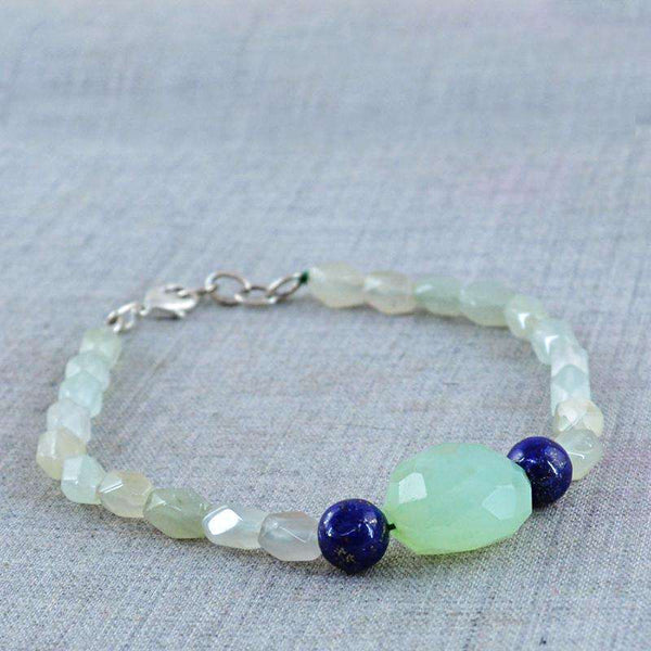gemsmore:Exclusive Green Aquamarine & Green Chalcedony Bracelet Natural Faceted Beads