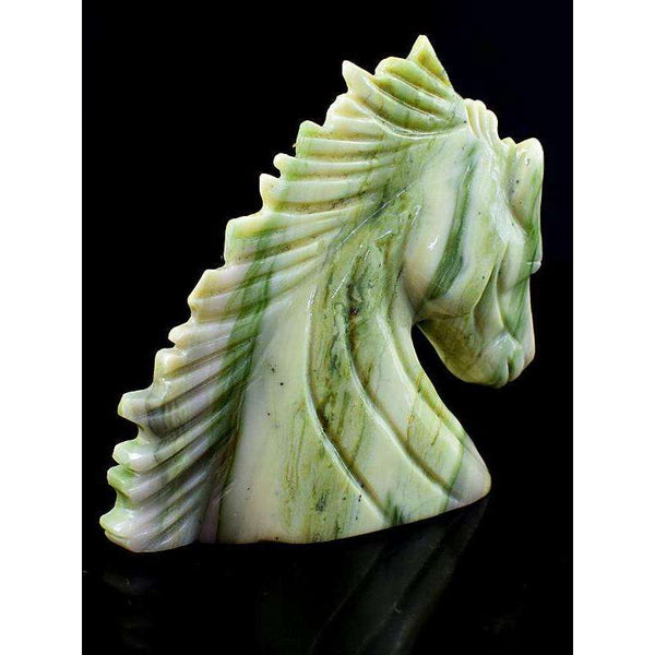 gemsmore:Exclusive Hand Carved Cheetah Jasper Horse Burst
