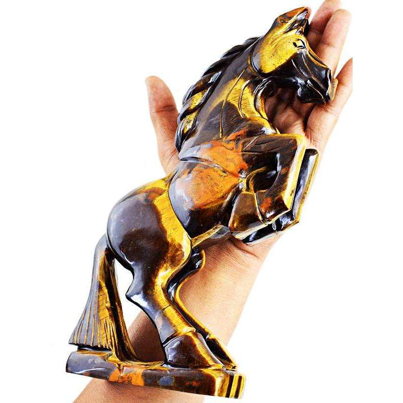 gemsmore:Exclusive Hand Carved Golden Tiger Eye Horse Carving