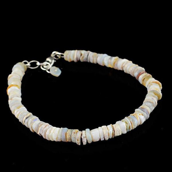 gemsmore:Exclusive Natural Australian Opal Bracelet Round Shape Untreated Beads