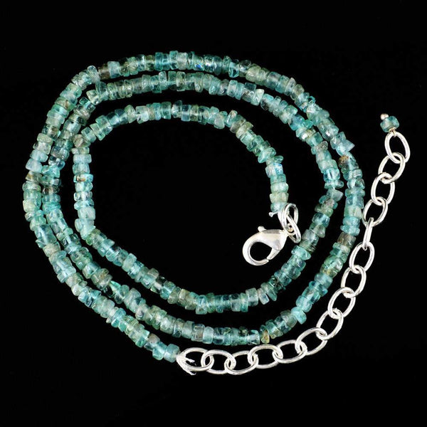 gemsmore:Exclusive Natural Blue Apatite Necklace Round Shape Untreated Beads