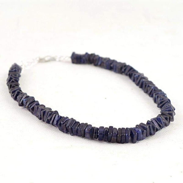 gemsmore:Exclusive Natural Blue Tanzanite Bracelet Untreated Beads