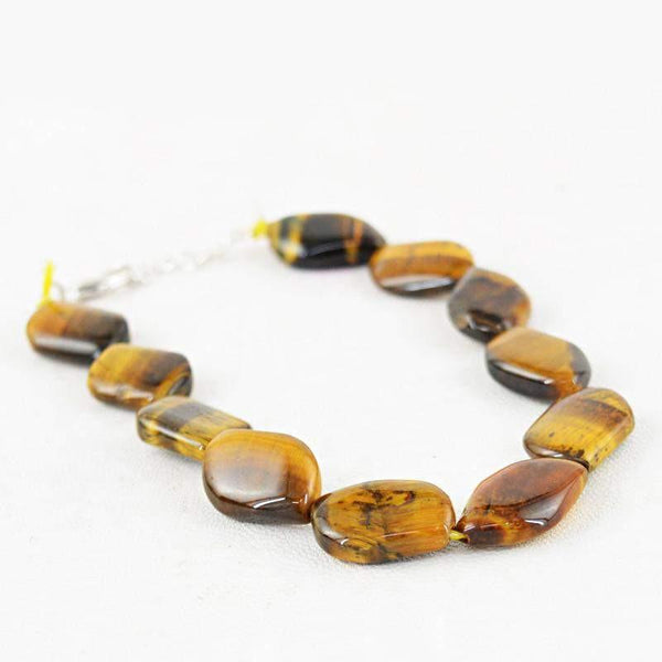 gemsmore:Exclusive Natural Golden Tiger Eye Bracelet Untreated Beads