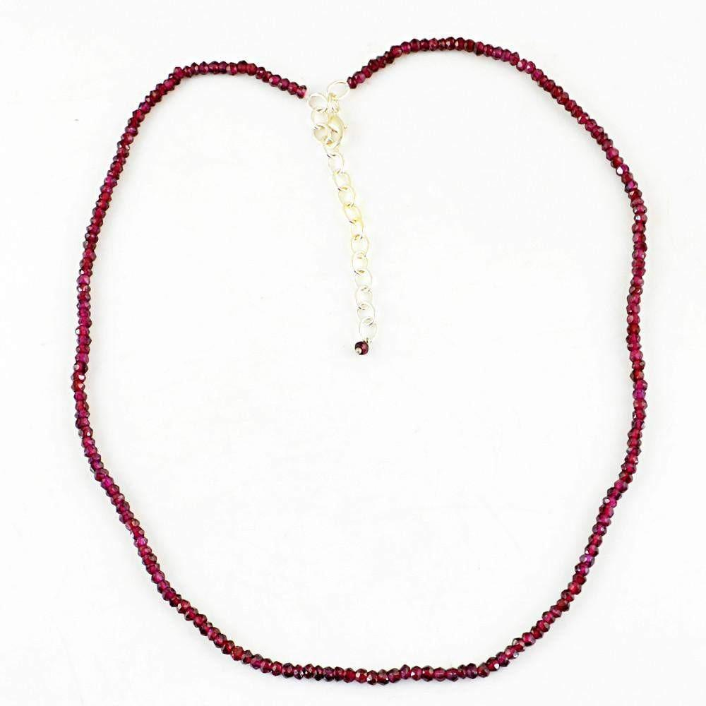 gemsmore:Exclusive Natural Red Garnet Necklace Untreated Round Faceted Beads