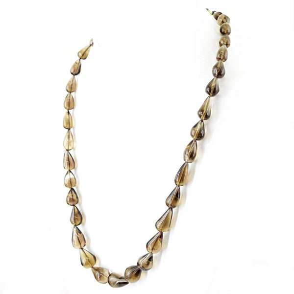 gemsmore:Exclusive Natural Smoky Quartz Necklace Single Strand Pear Shape Untreated Beads