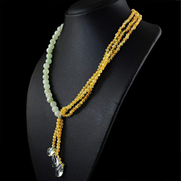 gemsmore:Exclusive Natural Yellow Citrine & Green Aquamarine Necklace Untreated Round Beads