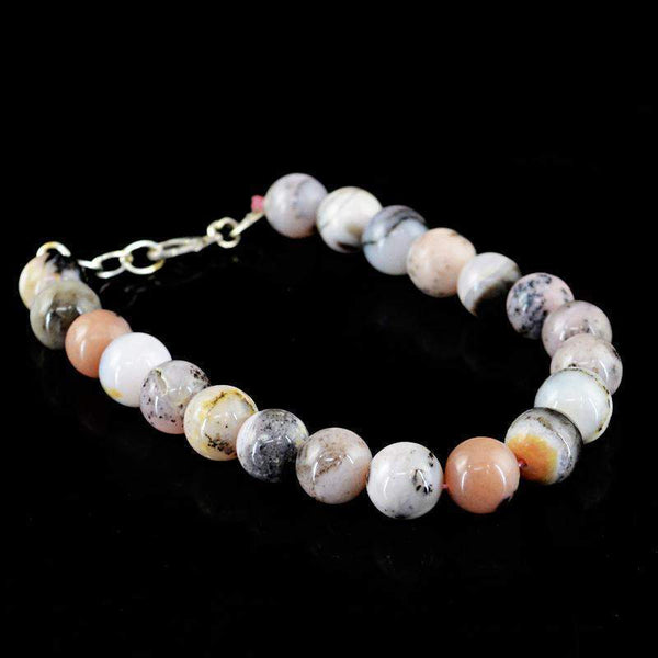 gemsmore:Exclusive Pink Australian Opal Bracelet Natural Round Shape Untreated Beads
