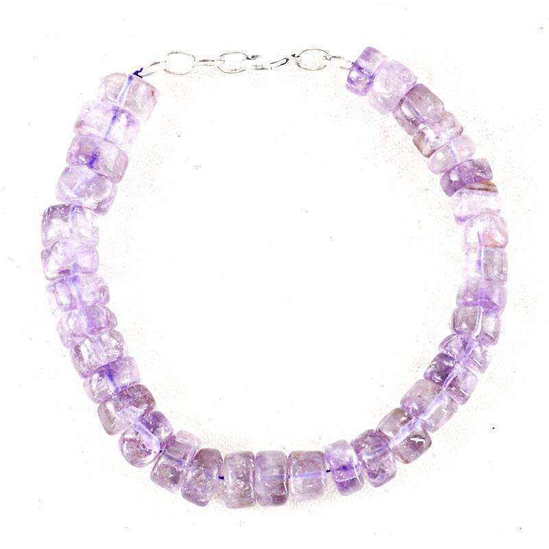 gemsmore:Exclusive Purple Amethyst Beads Bracelet Natural Round Shape