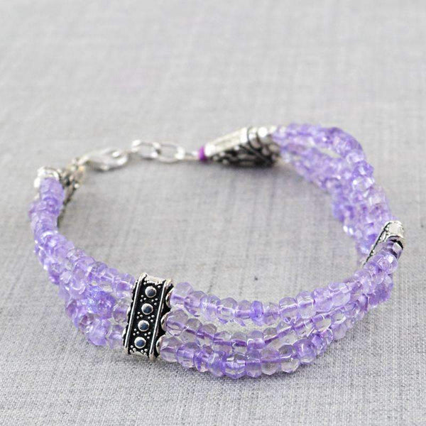 gemsmore:Exclusive Purple Amethyst Bracelet Natural Faceted Round Shape Beads
