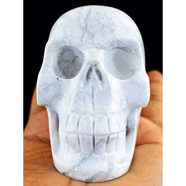 gemsmore:Exclusive White Howlite Hand Carved Human Skull