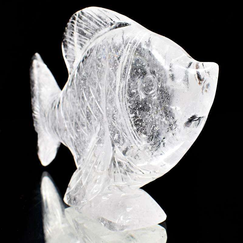 gemsmore:Exclusive White Quartz Hand Carved Fish Statue