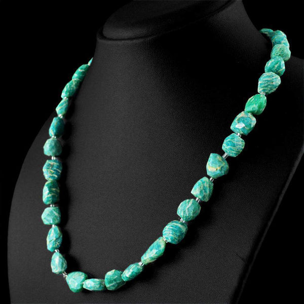 gemsmore:Faceted Amazonite Necklace Natural Untreated Genuine Beads