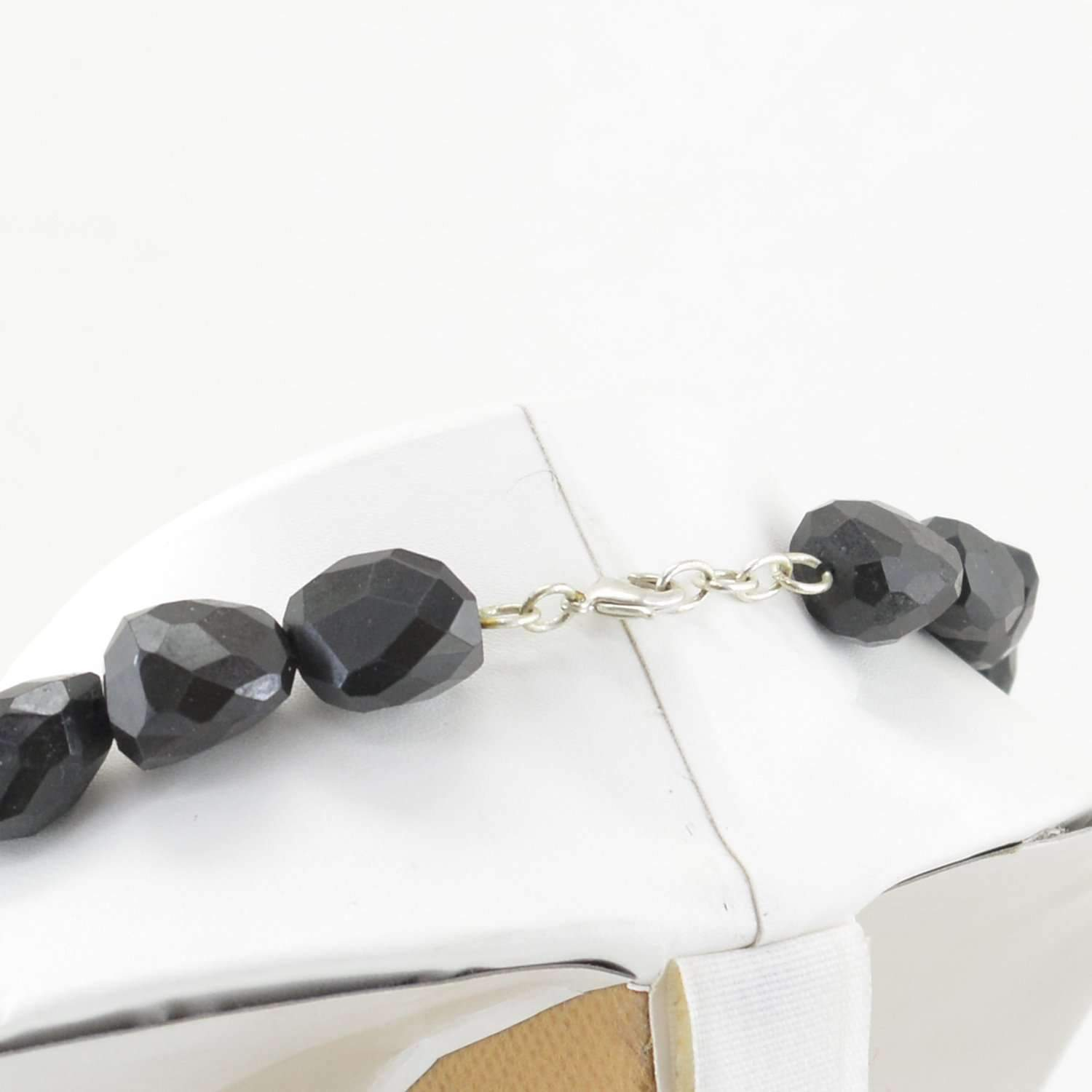 gemsmore:Faceted Black Spinel Necklace Natural Untreated Beads