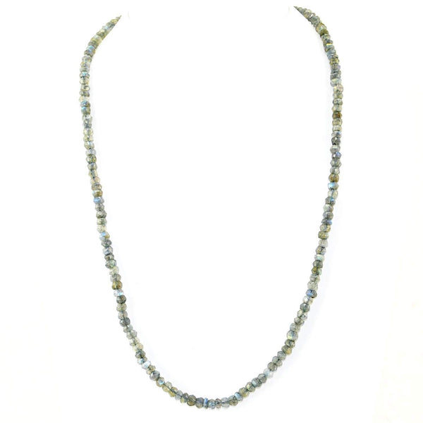 gemsmore:Faceted Blue Flash Labradorite Necklace Natural Round Beads - Single Strand