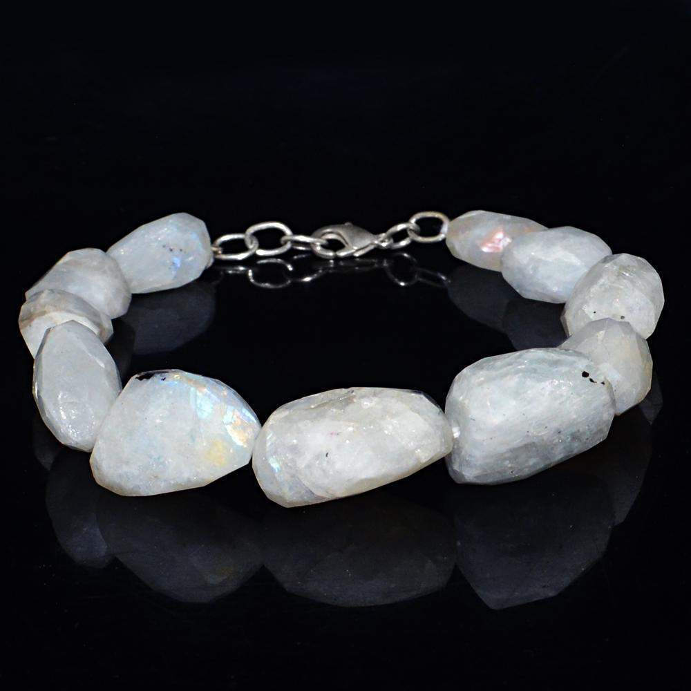 gemsmore:Faceted Blue Flash Moonstone Bracelet Natural Untreated Beads
