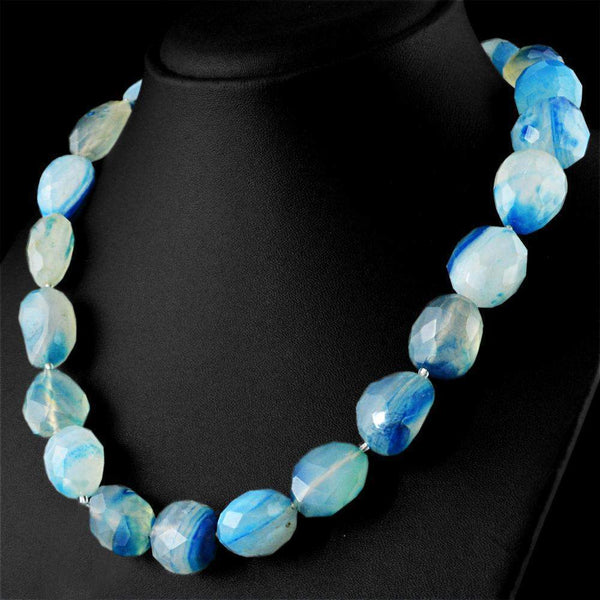 gemsmore:Faceted Blue Onyx Necklace Natural Untreated Beads