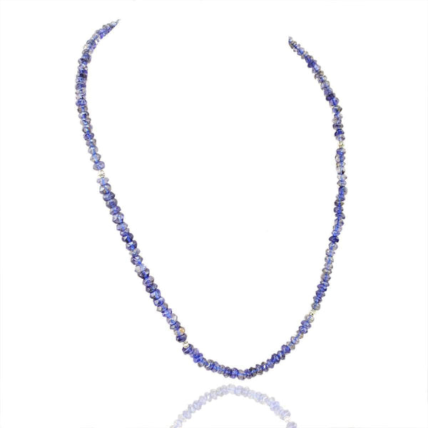 gemsmore:Faceted Blue Tanzanite Necklace Natural Round Beads