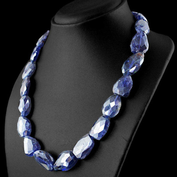 gemsmore:Faceted Blue Tanzanite Necklace Natural Untreated Beads