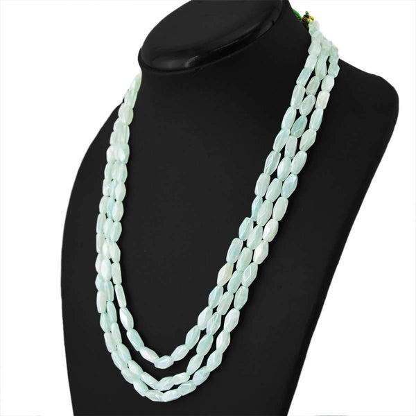 gemsmore:Faceted Green Aquamarine Necklace Natural 3 Line Untreated Beads