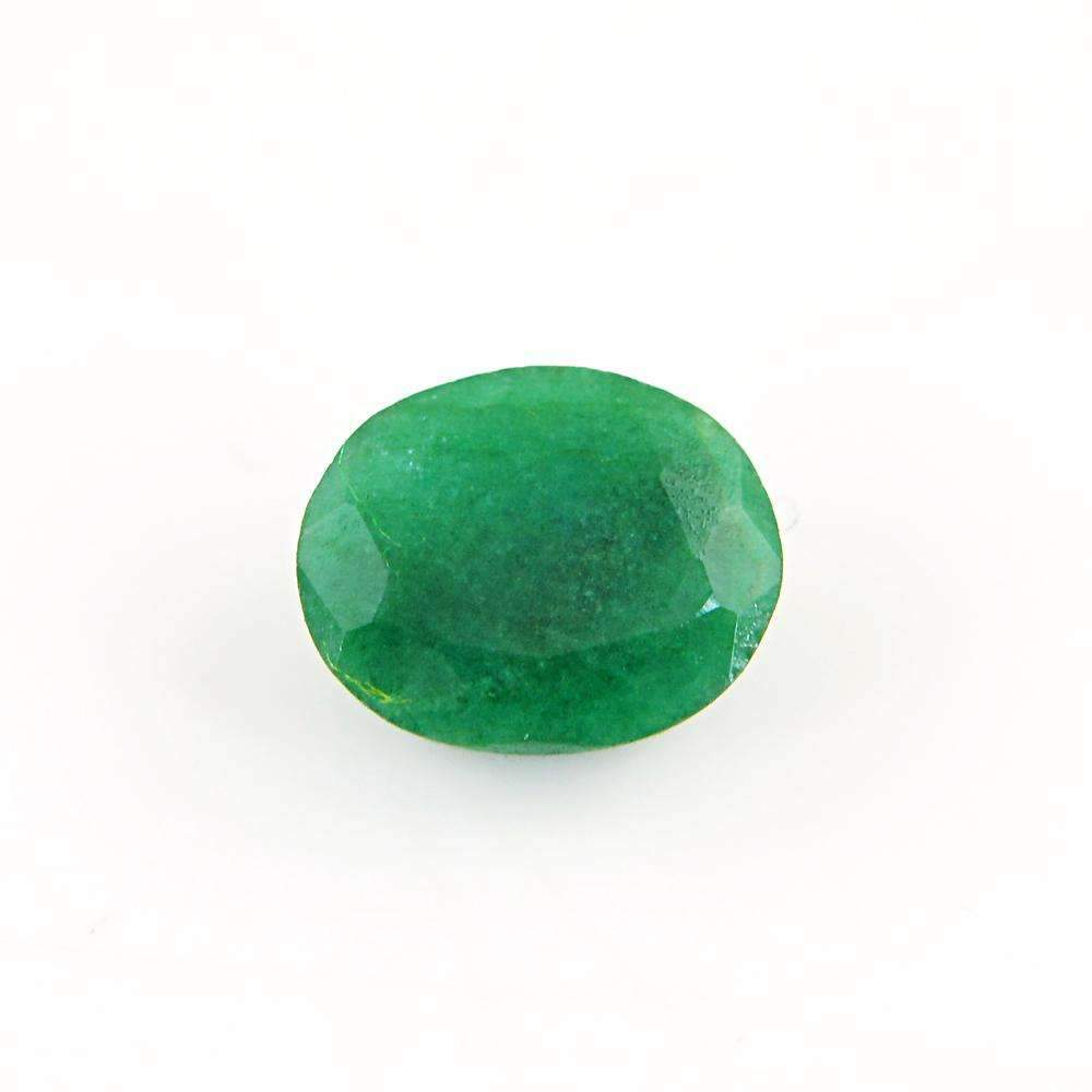 gemsmore:Faceted Green Emerald Gemstone Earth Mined Oval Shape