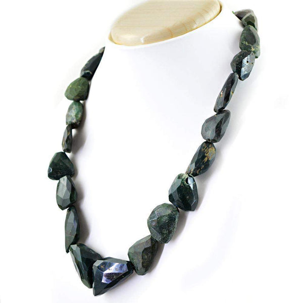 gemsmore:Faceted Green Moss Agate Necklace Natural Untreated Beads