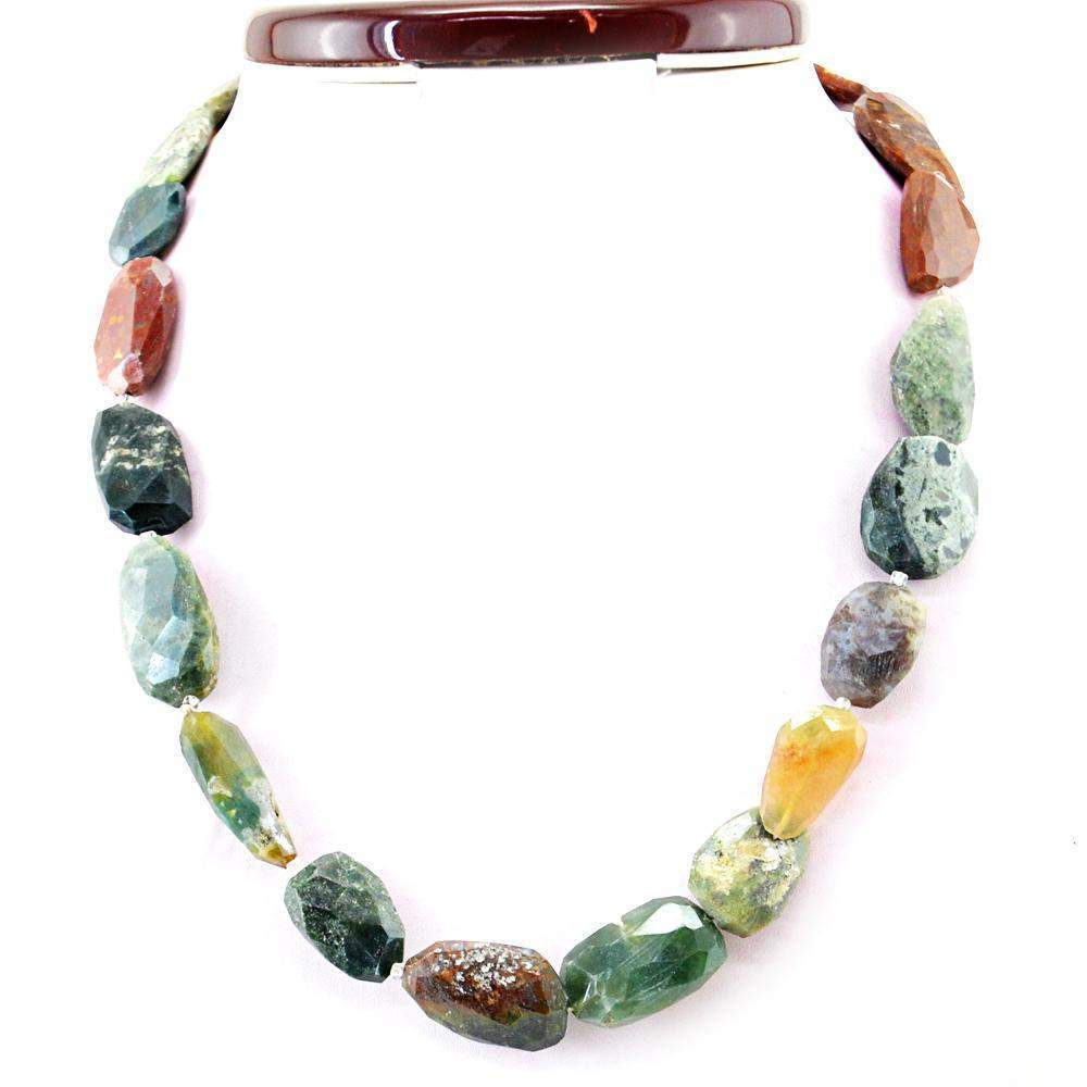 gemsmore:Faceted Moss Agate Necklace Natural Untreated Beads