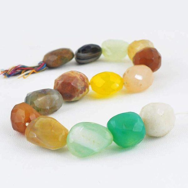gemsmore:Faceted Multicolor Multi Gemstone Strand Natural Drilled Beads