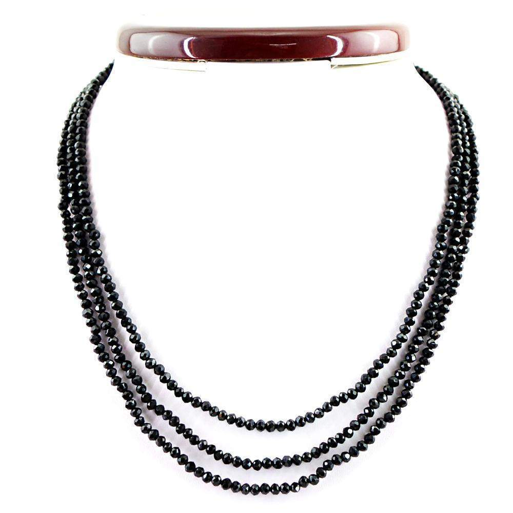 gemsmore:Faceted Natural Black Spinel Necklace 3 Line Round Shape Beads