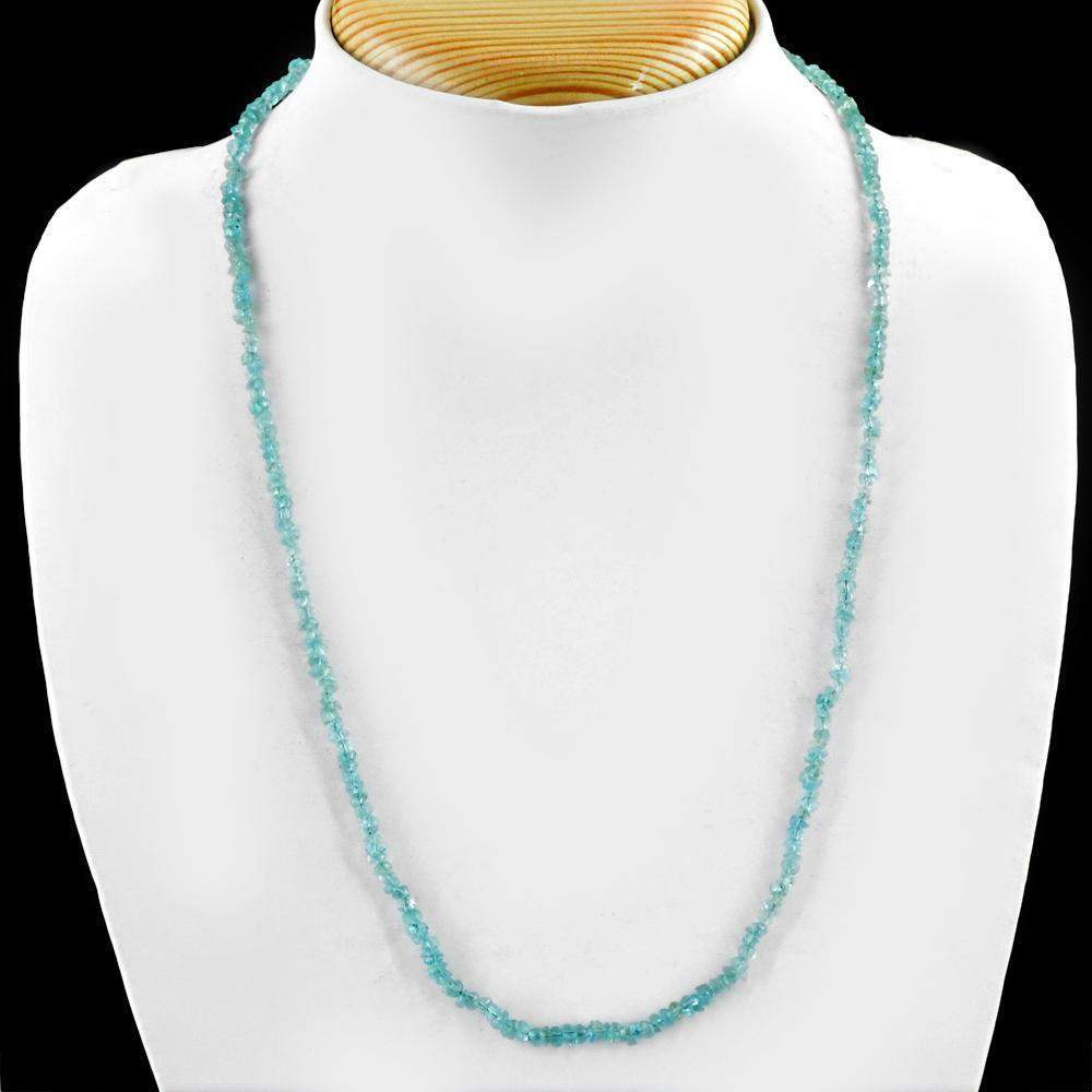 gemsmore:Faceted Natural Blue Apatite Beads Necklace