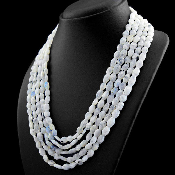 gemsmore:Faceted Natural Blue Flash Moonstone Necklace Untreated Beads