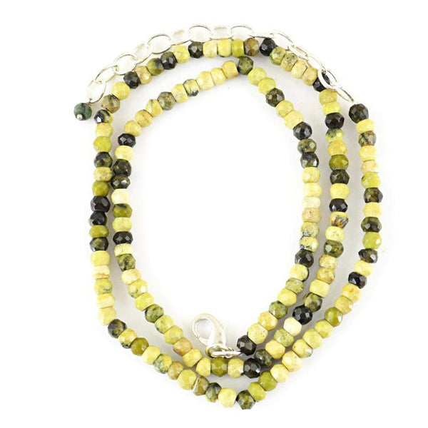 gemsmore:Faceted Natural Cat's Eye Necklace Untreated Round Shape Beads