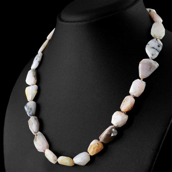 gemsmore:Faceted Natural Pink Australian Opal Necklace Untreated Beads